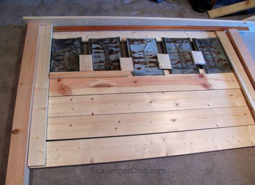 Upcycled Roofing Tin Shingles Headboard diy-001