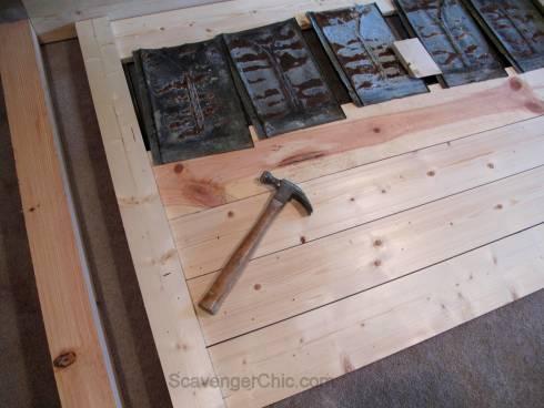 Upcycled Roofing Tin Shingles Headboard diy-002