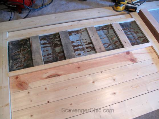 Upcycled Roofing Tin Shingles Headboard diy-006