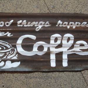 Corrugated Tin Coffee Sign