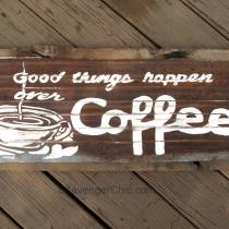 Vintage Style Coffee Sign Hand Painted on Corrugated Tin diy