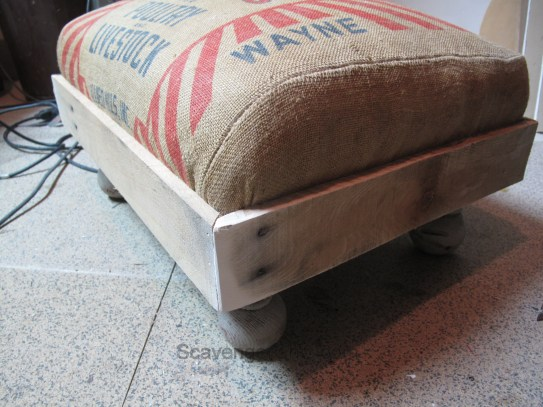 Recycled Feed Bag, Grain Sack Foot Stool
