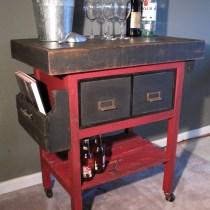 Upcycled Metal File Cabinet, bar cart, kitchen cart