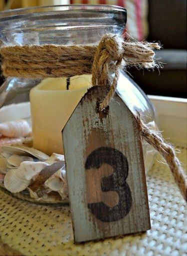 Aged Wood Tag Table Number