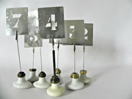 Door Knob and Stencil Table Numbers