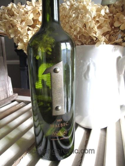 Metal Letters on Wine Bottle Wedding Table Number