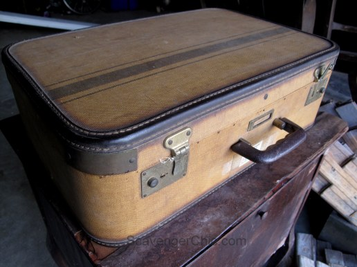 Picking Treasures from an Old Farmhouse, Vintage Suitcase
