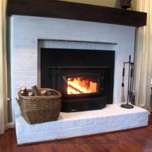 Faux Railroad Tie Mantel