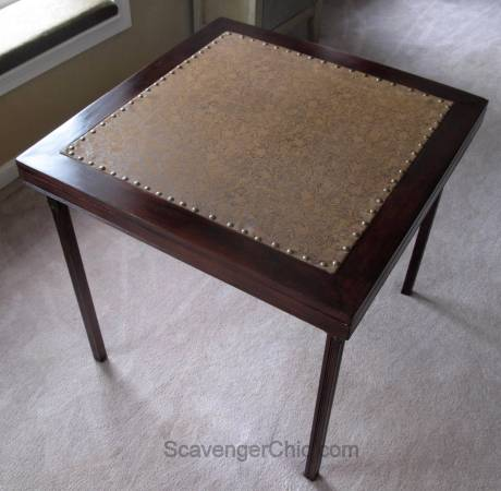 Vintage Card Table Fabric Makeover