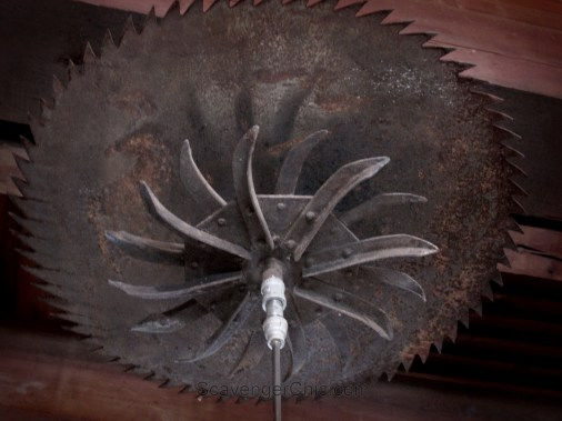 Upcycled Saw blade Pendant light fixtrue