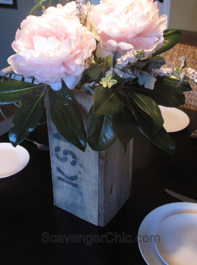 Pallet Wood DIY Wedding Centerpiece with peonies and succulents