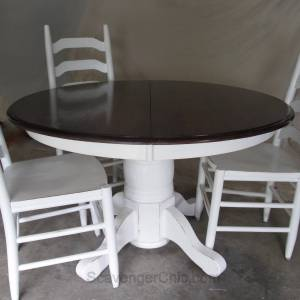 White Pedestal Table / chairs
