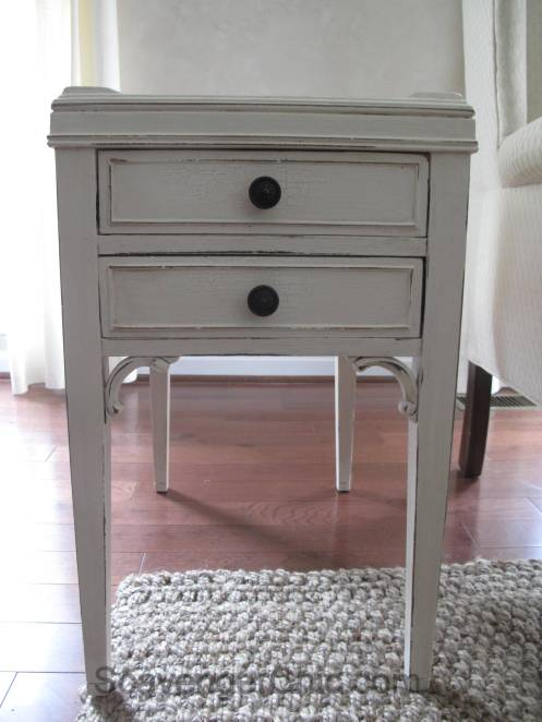Side Table Makeover, repairing chipped wood veneer