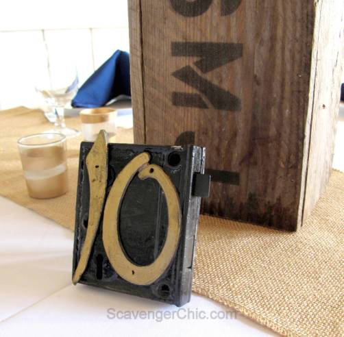 Upcycled Mortise Lock Wedding Table Number