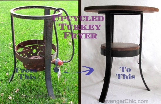 Upcycled , Recycled Turkey Fryer side table before and after-