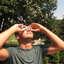 Improvised Solar Eclipse sun glasses, upcycled slides