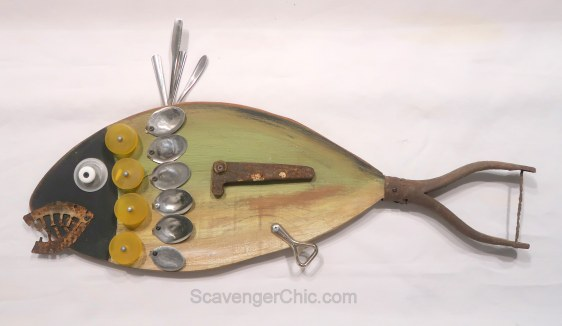 Assemblage Art Junk Fish