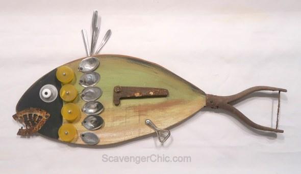 Assemblage Art Junk Fish