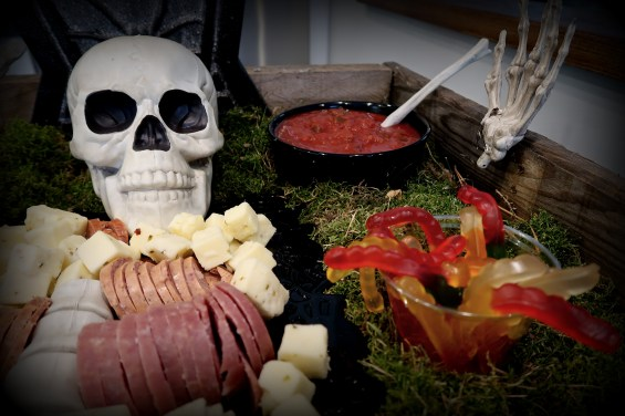Halloween Party Pallet Wood and Skeleton Cheese and Meat Tray