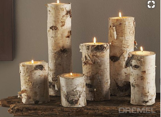 Homemade and DIY Gifts- Birchwood Candle Holders