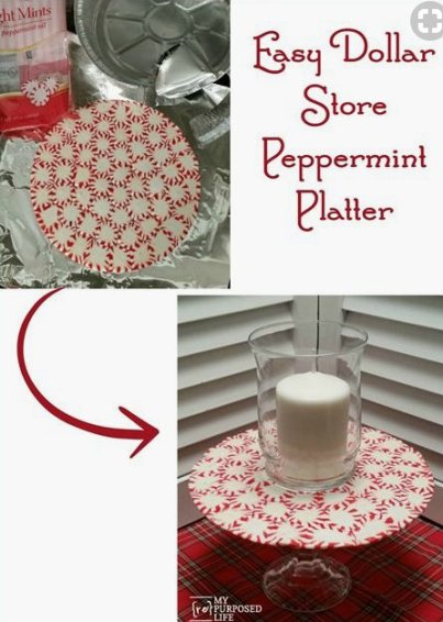 Homemade and DIY Gifts- Peppermint Pedestal Platter