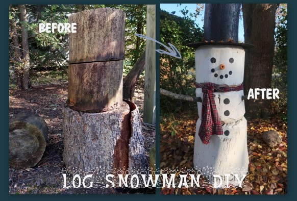 Four foot Log Snowman DIY