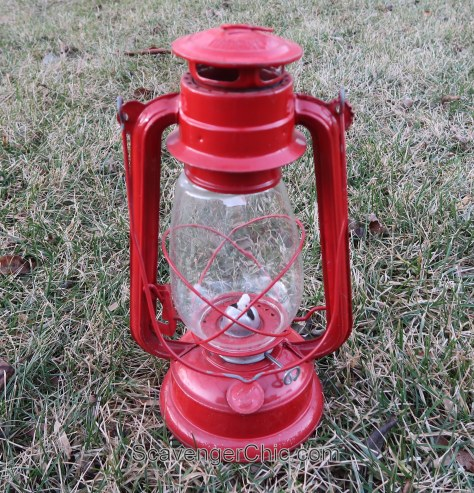 Thrift Store Treasures-red oil lamp