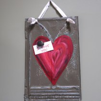 Vintage Roofing Shingle, Tin Painted Heart