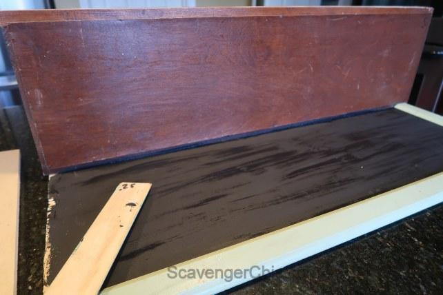 Repurposed corner shelf , chalkboard
