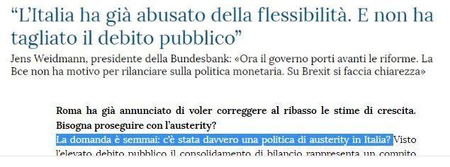 """Weidmann (Bundesbank) a La Stampa: """"… Ma l'Italia ha mai fatto austerità?"""". Consiglio, Renzi sbrigati a gettarlo in Arno a Jens, o ti spiegherà Trump come non farti prendere per i fondelli…"""