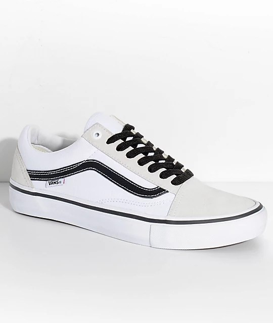 Vans Old Skool Pro Off White  White   Black Skate Shoes   Zumiez Vans Old Skool Pro Off White  White   Black Skate Shoes
