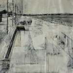 black and white rendering of Portobello Promenade in mixed media