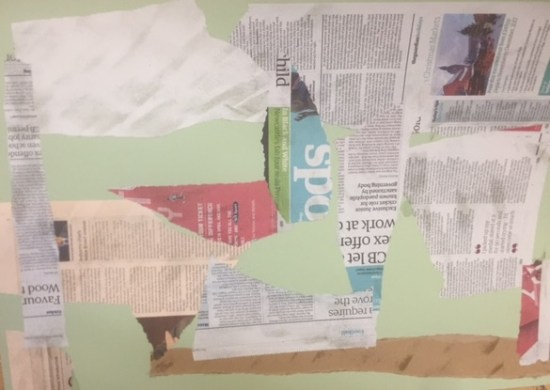 Early work in progress with newsprint clearly visible
