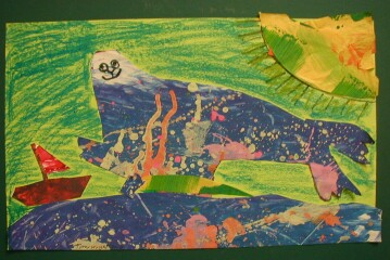 Students in San Clemente created art projects inspired by Alexis O'Neill's picture book, Loud Emily.