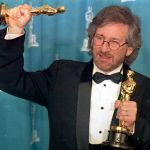 US director Steven Spielberg poses with his two Os