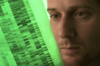 Reseacher looking at DNA fingerprint
