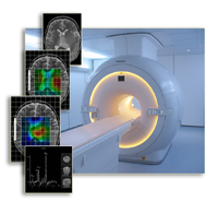 An MRI scanner and brain tumour images