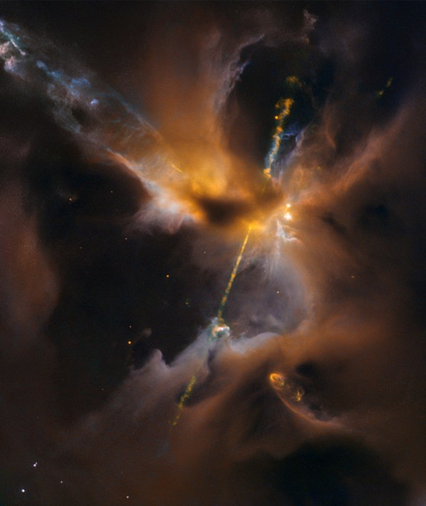 Jets in Herbig-Haro 24, einem entstehenden Stern. Bild: CC BY 2.0, NASA Goddard Space Flight Center/STScI, Hubble Heritage.