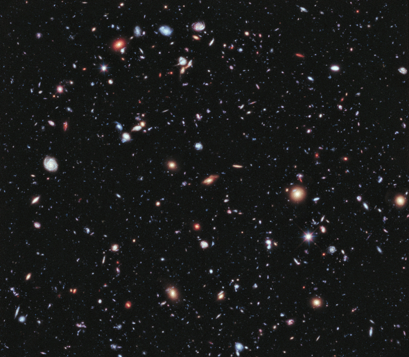 Hubble Extreme Deep Field - fernste Galaxien. Bild: NASA; ESA; G. Illingworth, D. Magee, and P. Oesch, University of California, Santa Cruz; R. Bouwens, Leiden University; and the HUDF09 Team. Gemeinfrei