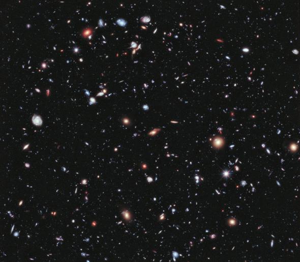 Hubble Extreme Deep Field - fernste Galaxien. Bild: NASA; ESA; G. Illingworth, D. Magee, and P. Oesch, University of California, Santa Cruz; R. Bouwens, Leiden University; and the HUDF09 Team. Gemeinfrei