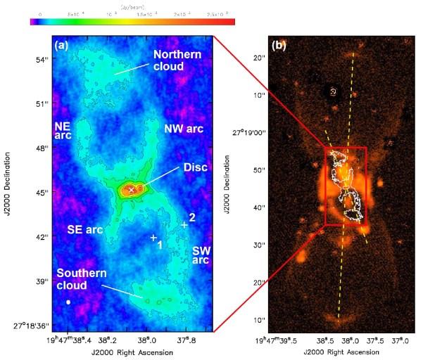 Staubemission von CK Vul im ALMA-Radiobild. Links (a): der innere Teil des Nebels; die Radiointensität ist farbcodiert. Man erkennt einen bipolaren Nebel (Northern Cloud, Southern Cloud und eine scheibenförmige Struktur im Zentrum. Rechts (b): der Ausschnitt im Vergleich zu einem Radiobild der umgebenden bipolaren Wasserstoffnebels, der 2007 entdeckt worden war. Die Achsen der beiden Wolken sind um 24° gegeneinander verkippt. Bild: [1].
