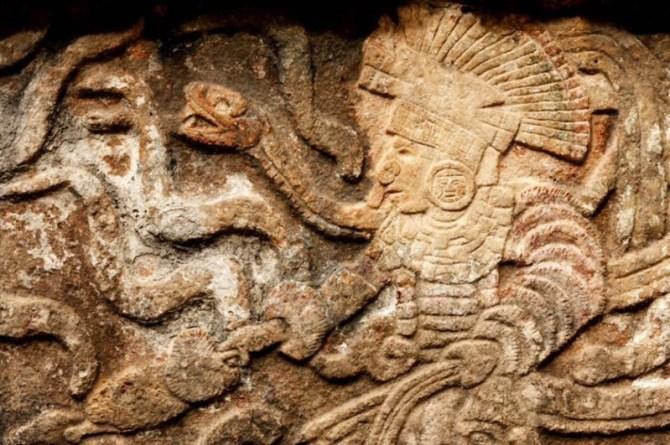 Maya Rock snake God