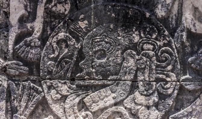 Olmec skull carving