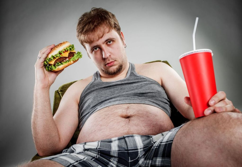 26456883 - fat man eating hamburger seated on armchair. style fast food.