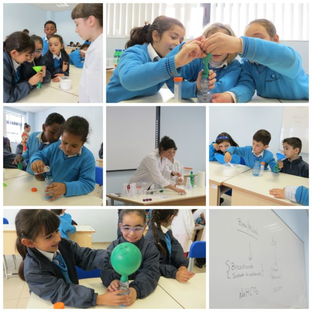 The children enjoying their first experiment