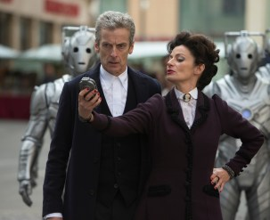 Picture shows: PETER CAPALDI as The Doctor, MICHELLE GOMEZ as Missy, Cybermen