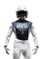 The Midshipmen's baselayer features the dying command of Capt. James Lawrence. (Nike photo)