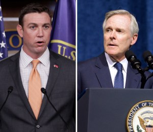 Rep. Duncan Hunter, R-Calif., left, is calling for Navy Secretary Ray Mabus to resign after Mabus criticized the Marine Corps' study of gender integration of ground combat units. speaks during a news conference on Capitol Hill, Thursday, April 7, 2011, in Washington. (AP Photo/Carolyn Kaster and by Jason Davis/Getty Images)