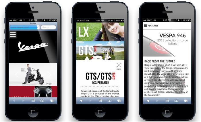 Vespa.com on Smartphone
