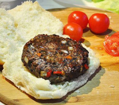 Home Made Burgers with Red & Orange Peppers